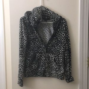 Cheetah print zip up hoodie